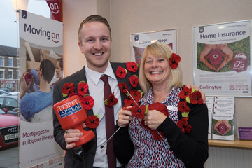 Darlington Building Society Yarm branch knit poppies for charity
