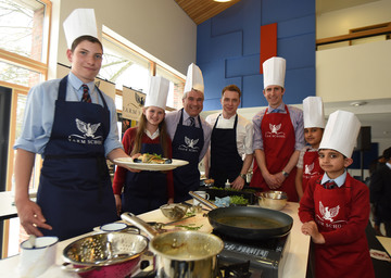 Celebrity chef James Tanner treats Yarm School pupils to a cookery masterclass