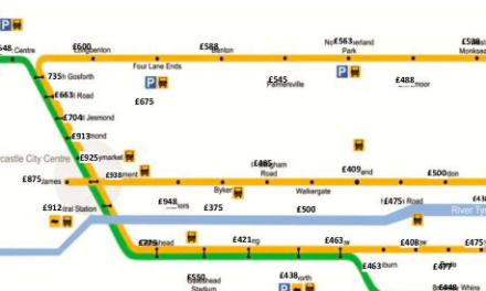Tyne and Wear rents vary by £86 from Metro station to station
