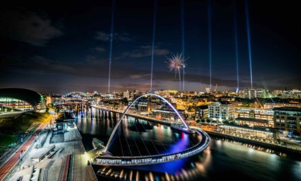 Searchlights and fireworks welcome students to Newcastle