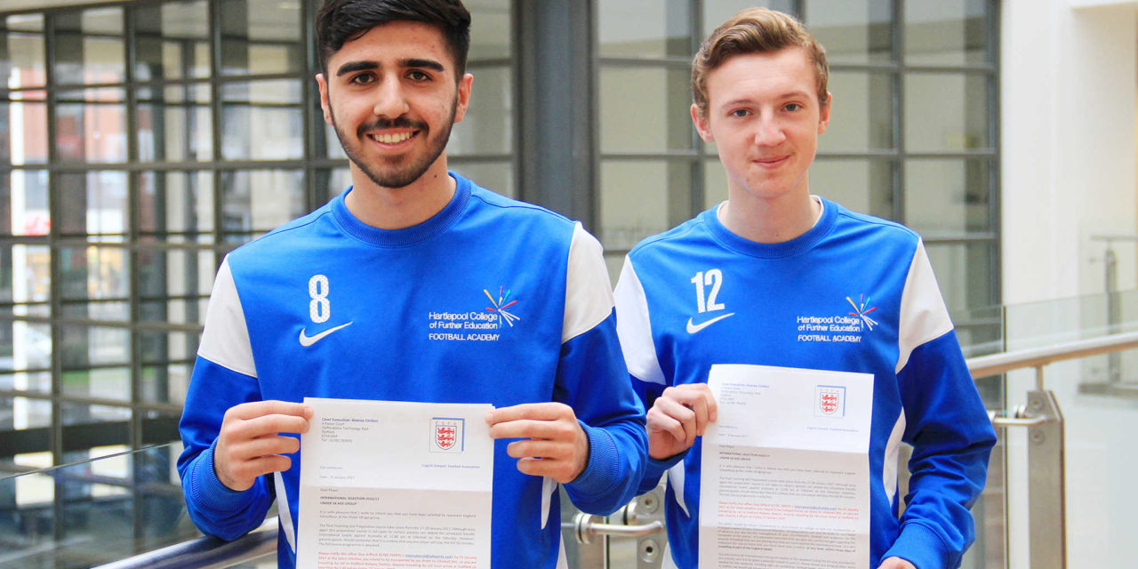 England footballers thank Hartlepool College of FE after international cup victory