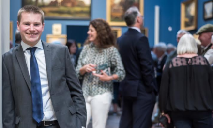 Chartered Surveyor Bowes In Museum Setting for Business Launch