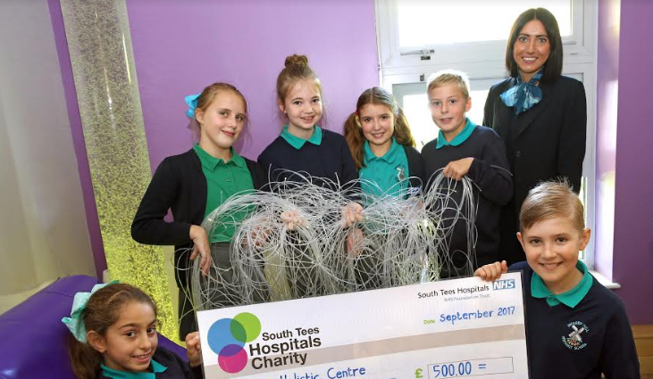 Ingleby Mill School Record Breakers Present £500 Cheque to Trinity Holistic Centre