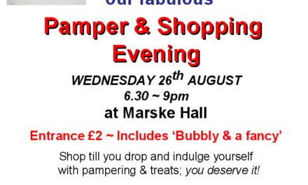 Pamper Night Wednesday 26 August, 6:30pm – 9pm, Marske Hall