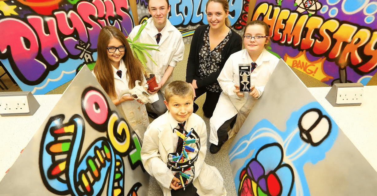 Students team up with graffiti artist to bring a colourful twist to science