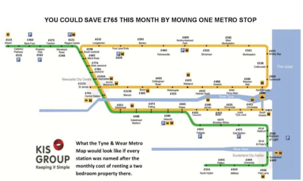 Tyne and Wear Metro Map shows how rent costs vary by £77 from station to station