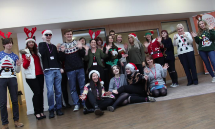 Students and Staff show off  their Jolly Jumpers for Charity