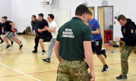 Royal Marines help college students to shape up