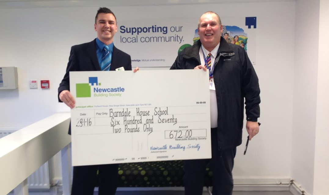 Alnwick NBS Fundraisers hand over £672 Cheque to Barndale House School