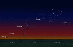 Five planets in rare alignment during morning nautical twilight