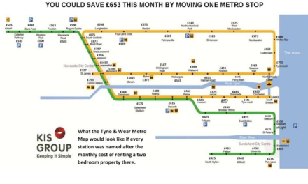 Tyne and Wear rents vary by £75 from Metro station to station
