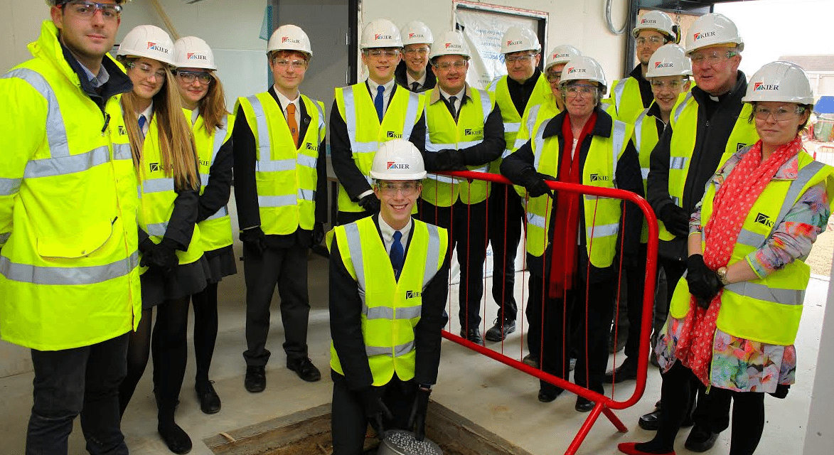 Students bury time capsule at brand new school