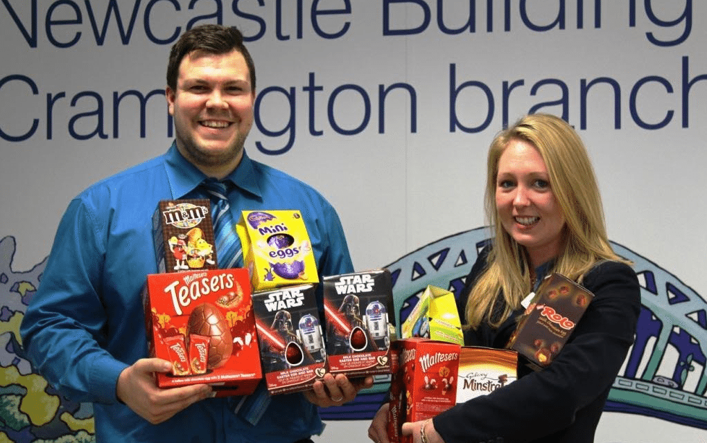 Cramlington Building Society Staff Hop to it for Chocolate Egg Collection