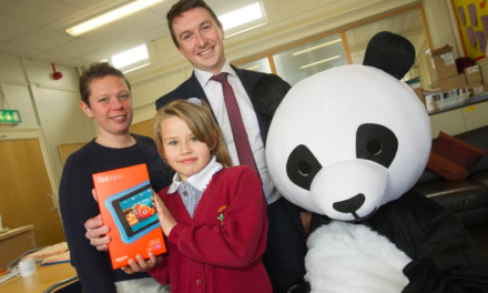 Anti-bullying panda mascot buddies up at Gateshead school