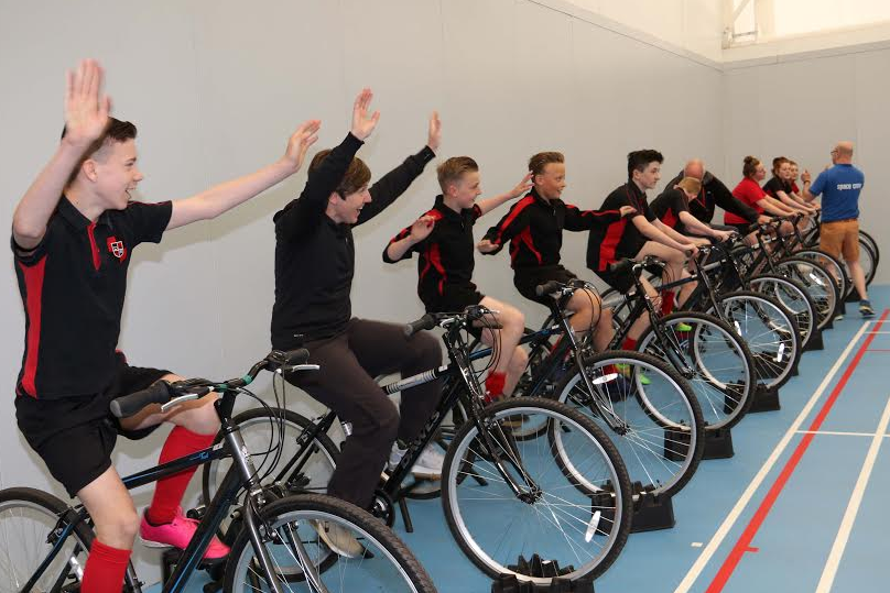 Students cycle to the space station to celebrate Tour de Yorkshire