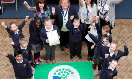 Green flag flying for Eco-Warriors at Atkinson Road Primary