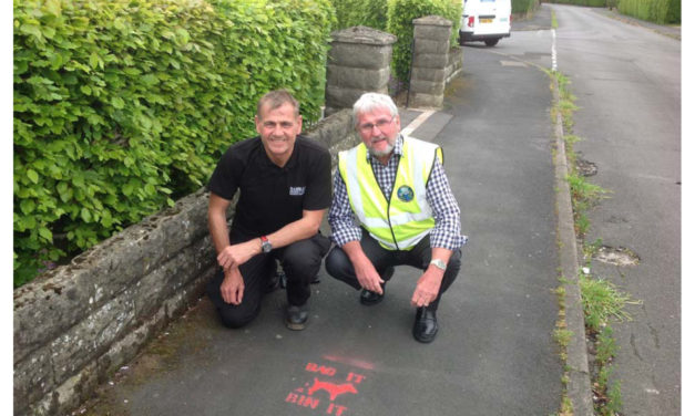 Detering dog fouling with pavement slogans