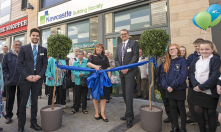 Joanne Cuts the Ribbon for Official Opening of Newcastle Building Society's New Gateshead Branch