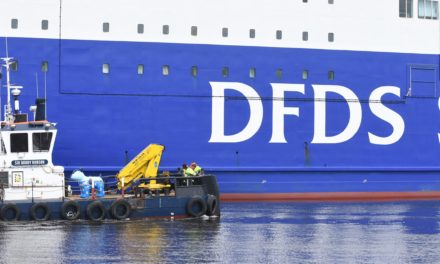 Spectacular Arrival for DFDS Snowdog as it sets Sail with a Little Help from the Port of Tyne