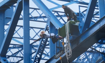Daring duo bungee jump off Tees Transporter Bridge