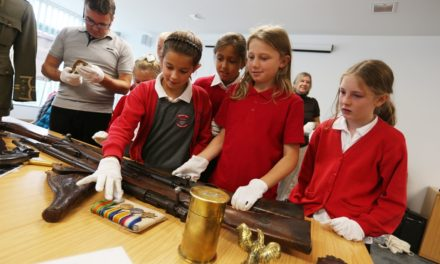 Children get hands on with the history of the  Durham Light Infantry