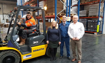 Komatsu Donates Fork Lift Truck to Unemployment Charity