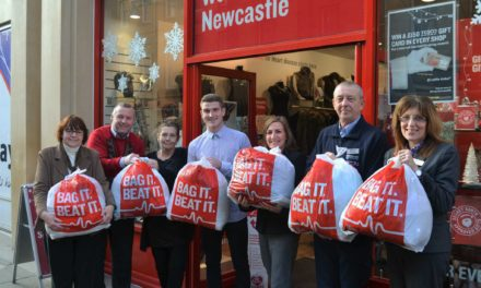 Newcastle students show bags of support