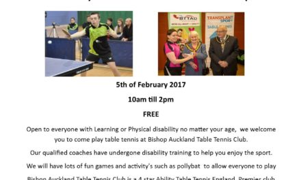 Disability Open Day at Bishop Auckland Table Tennis Club