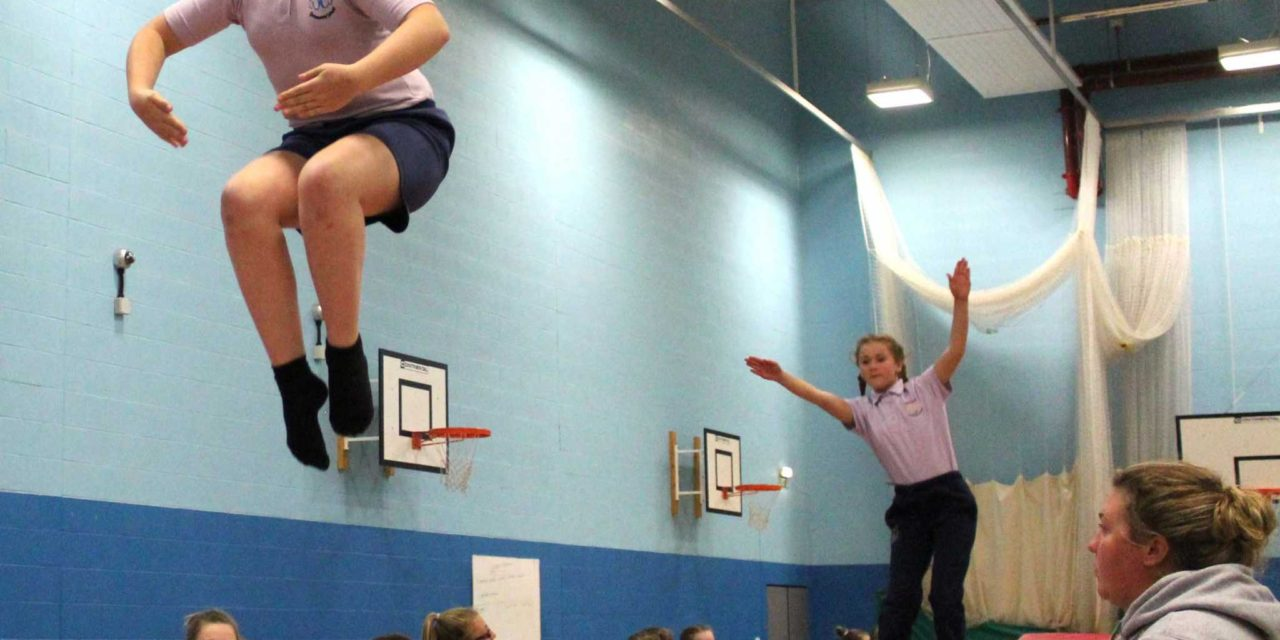 Students left bouncing by trampoline success