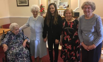 Singing school pupil Kirsten entertains at Ingleby Care Home