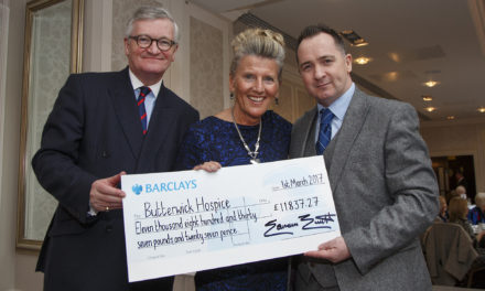 Rockliffe Hall presents cheque to Butterwick Hospice