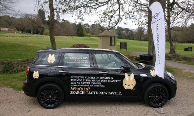 Lloyd Newcastle MINI hops down to St Oswald's Hospice to donate 200 toy bunnies