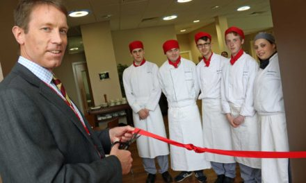 Military top brass inspect college's new restaurant as it reopens after fire