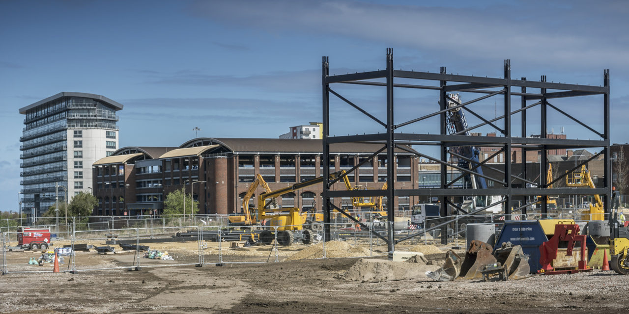 Steel work in place at former brewery site in Sunderland