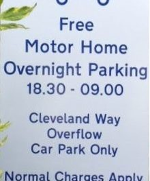 Free Motorhome overnight parking in Cleveland Way overflow car park in Helmsley