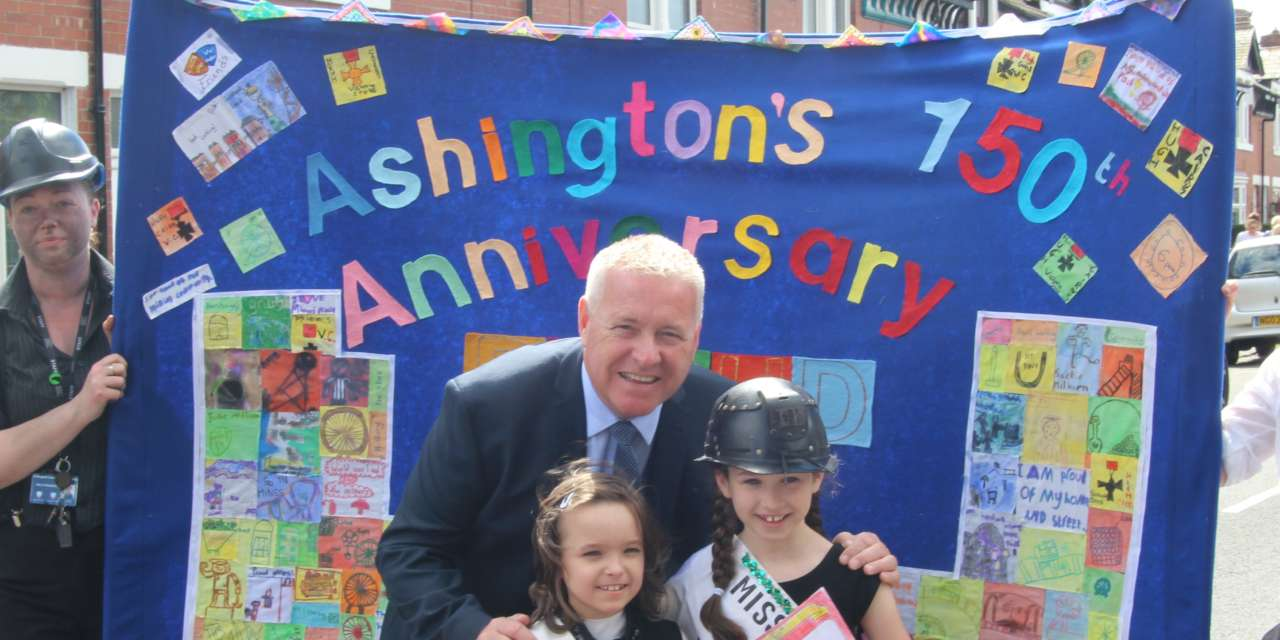 School children celebrate Ashington's 150th anniversary