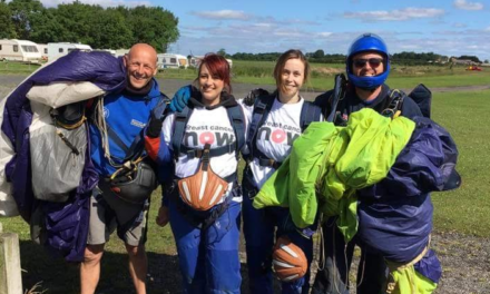 Brave pair complete skydive for cancer charity