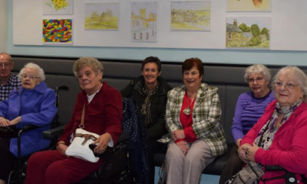 Artwork of older people in the frame at Town Hall exhibition