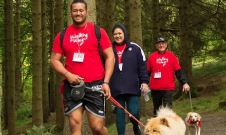 "Newcastle Falcon and Tongan International rugby star supports Kielder Dog Walk ""Walk for Wag"""