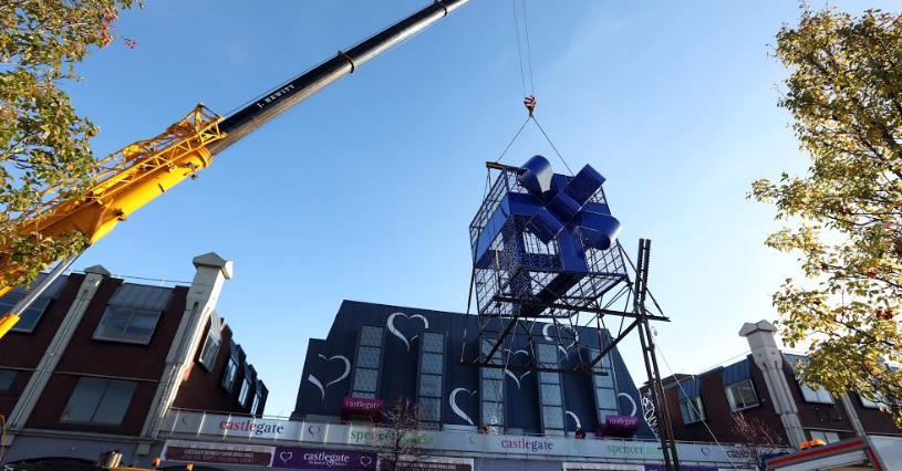 Giant Christmas Tree Lands in Stockton Town Centre
