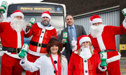 North East Bus Depots get in the Christmas Mood as Driving Santas take to the Road for Charity