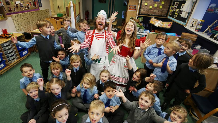 Stars of Christmas show lead school storytelling session
