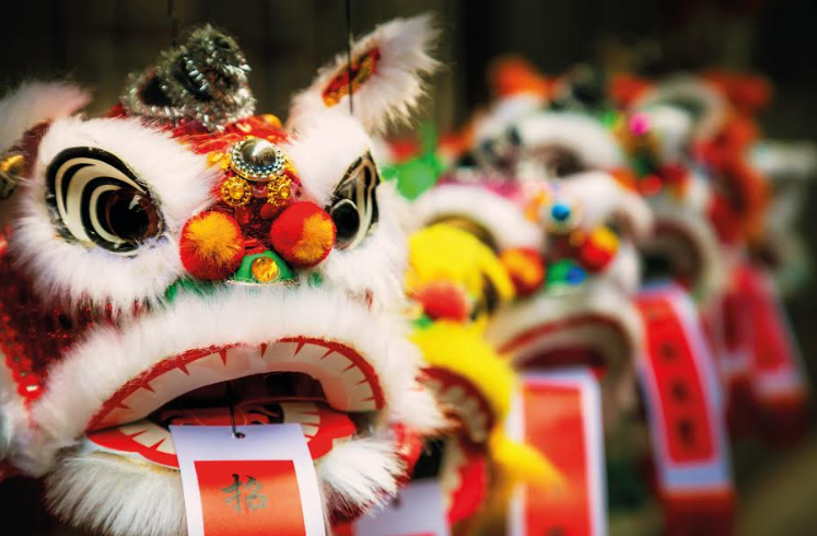 Chinese Lion celebrates the first day of Chinese New Year at intu Eldon Square