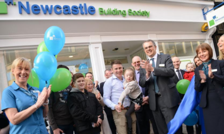 Kara-Mai and Alex Cut the Ribbon at Newcastle Building Society's New Durham Branch