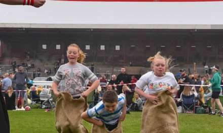Egging on the children for a Champion day at Redcar