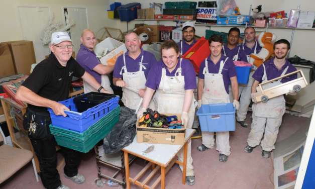 Volunteers rescue water-damaged charity stock store building after roof lead theft at Zoë's Place