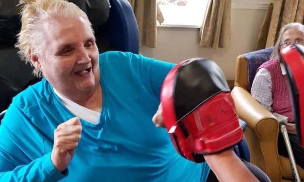Care home martial arts with armchair karate
