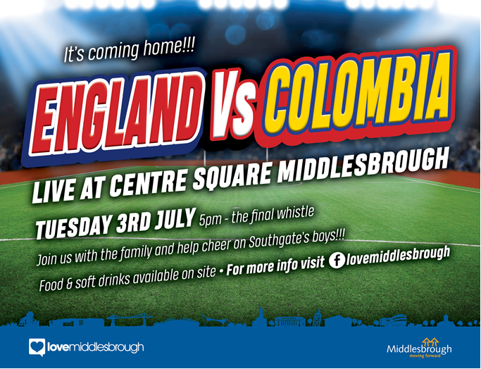WATCH ENGLAND'S KEY WORLD CUP CLASH IN CENTRE SQUARE