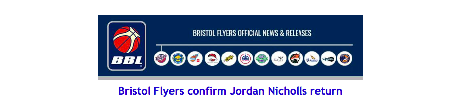 Bristol Flyers confirm Jordan Nicholls return