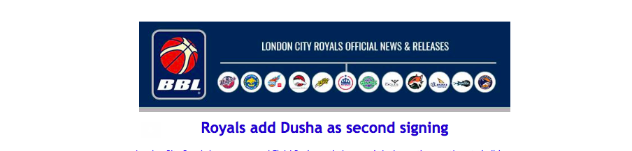 Royals add Dusha as second signing